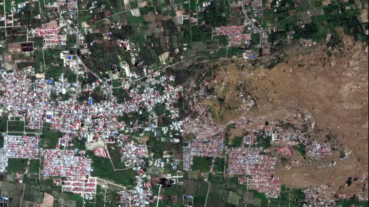 Zkáza na Sulawesi. Satelitní snímky ukazují, co dokáže šestimetrová tsunami