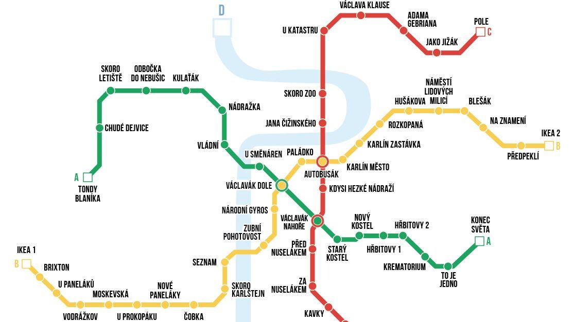 Šťastné pondělí speciál: VPraze se metro už několik let nestaví. Tak pojďme aspoň přejmenovat stanice