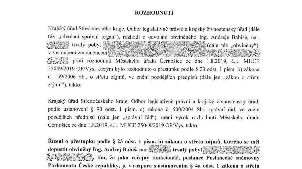 Dokumenty opřípadu Babišova střetu zájmů: 23 + 16stran, které rozhodly