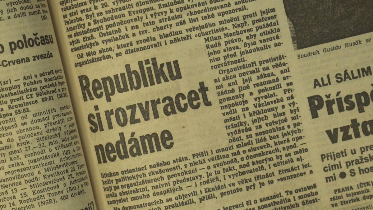 Republiku si rozvracet nedáme. Nahlédněte do zpravodajství Rudého práva zledna 1989