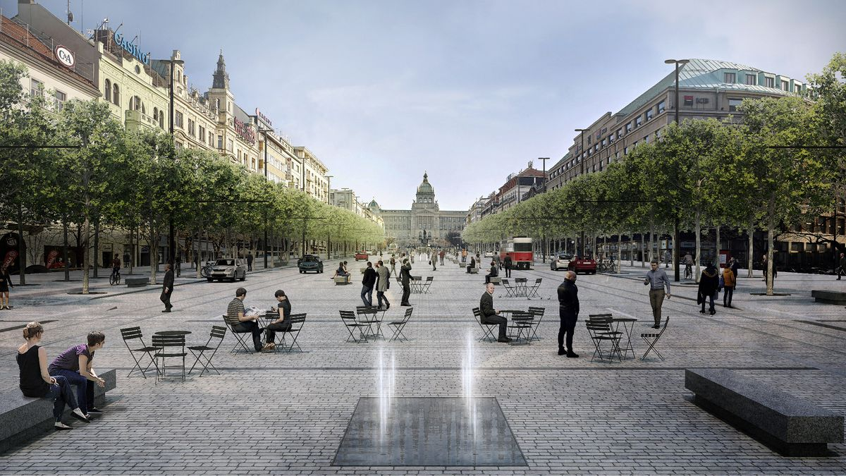Vizualizace: Tak má vypadat Václavské náměstí. Lípy, pítka a nádrže na vodu