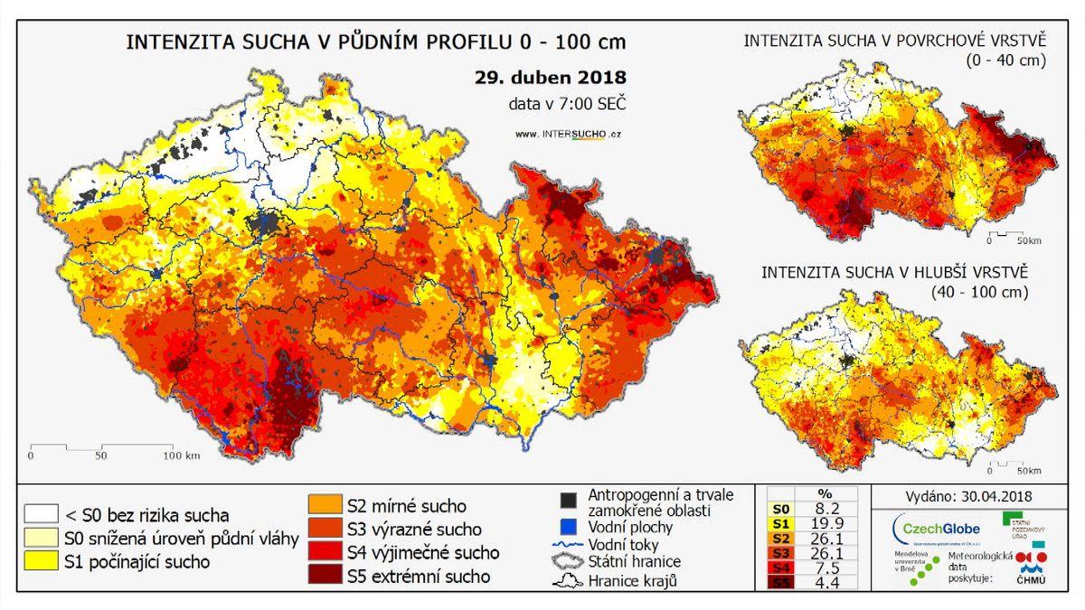 Mapa sucha: V Česku kriticky ubývá voda, názorně ukazuje sestřih z posledních pěti let