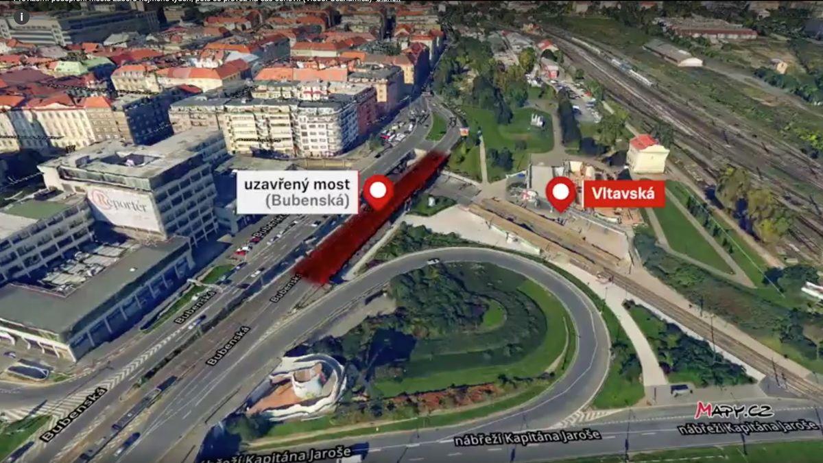 Přes most na Bubenské umetra Vltavská do 24.února neprojedete