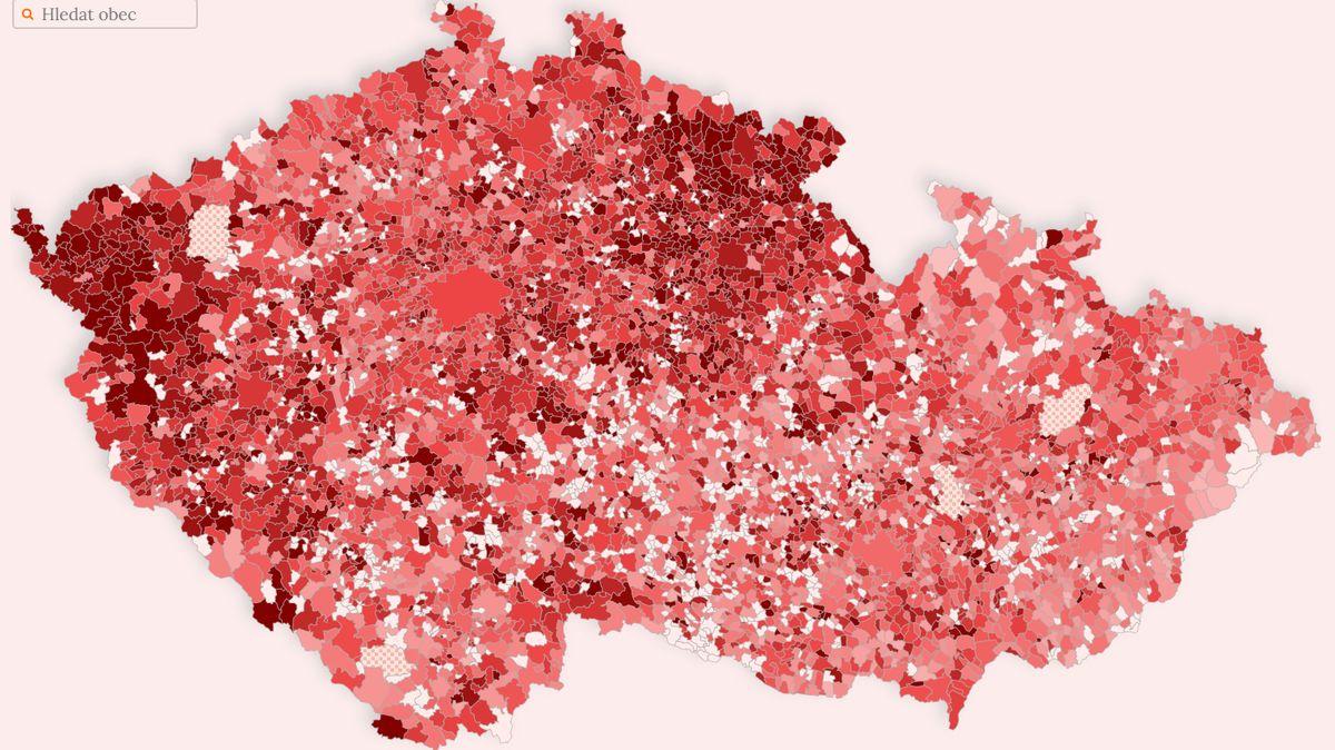 Aktuální mapa obcí: Plošná opatření nefungují, virus se dále šíří