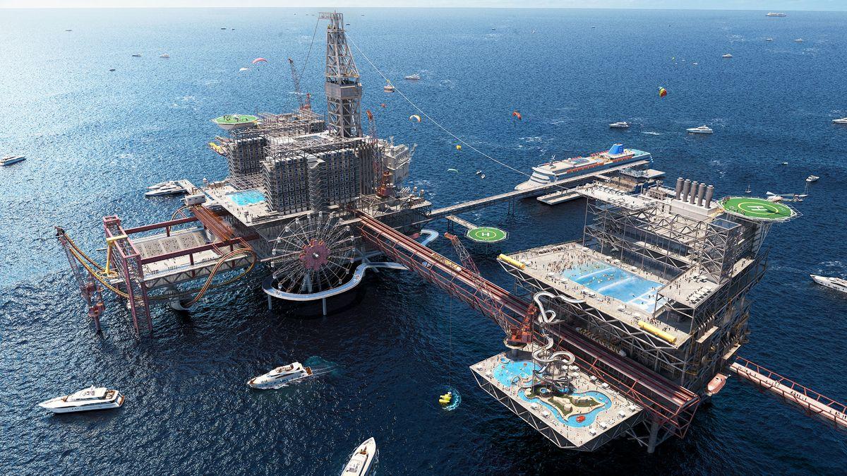 Plošina. Extrémní zábavní park nahradí ropný vrt vPerském zálivu