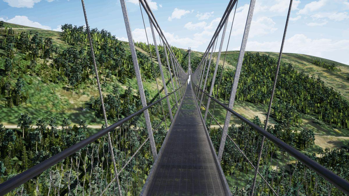 VČesku roste nejdelší visutý most na světě. Spojí dva hřebeny