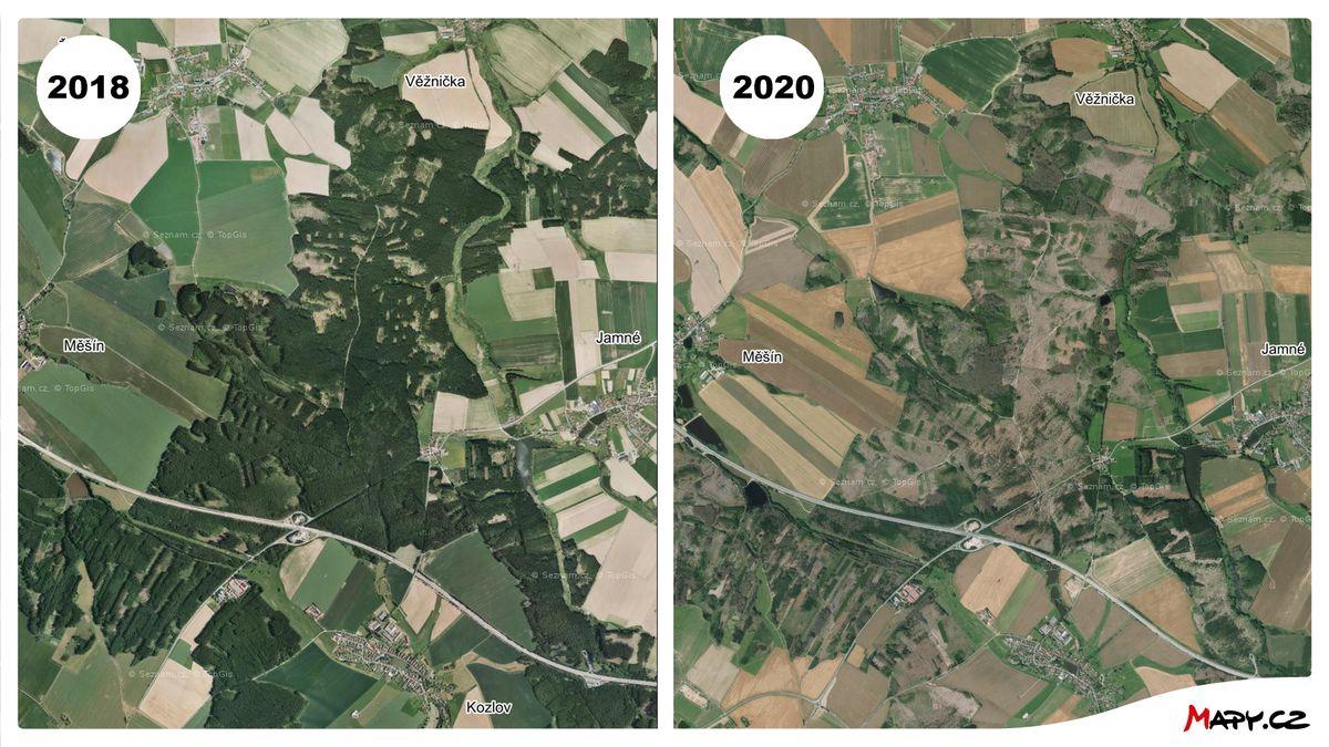Takhle kůrovec sežral české lesy. Mapy.cz ukážou, co se za dva roky změnilo